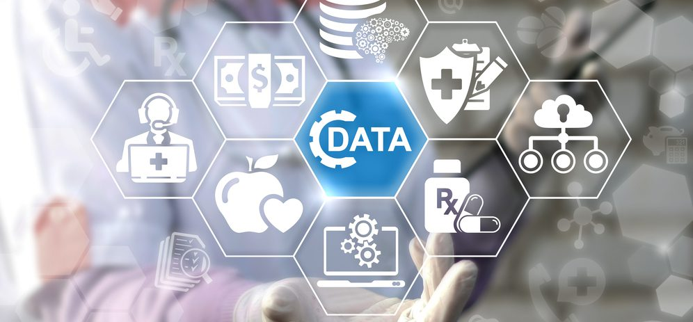 icons depicting data, analytics, and ai on healthcare interface