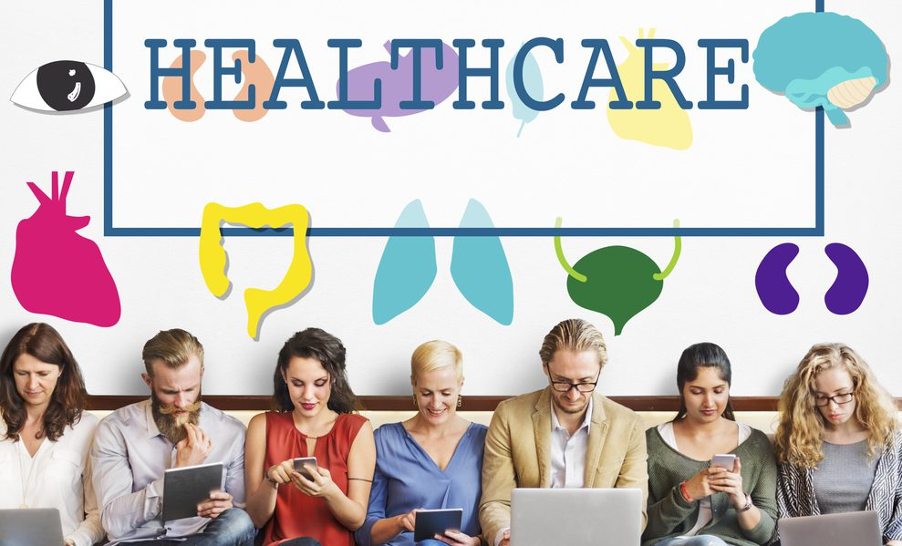 healthcare marketing - multiple people searching for healthcare through their phones and tablets