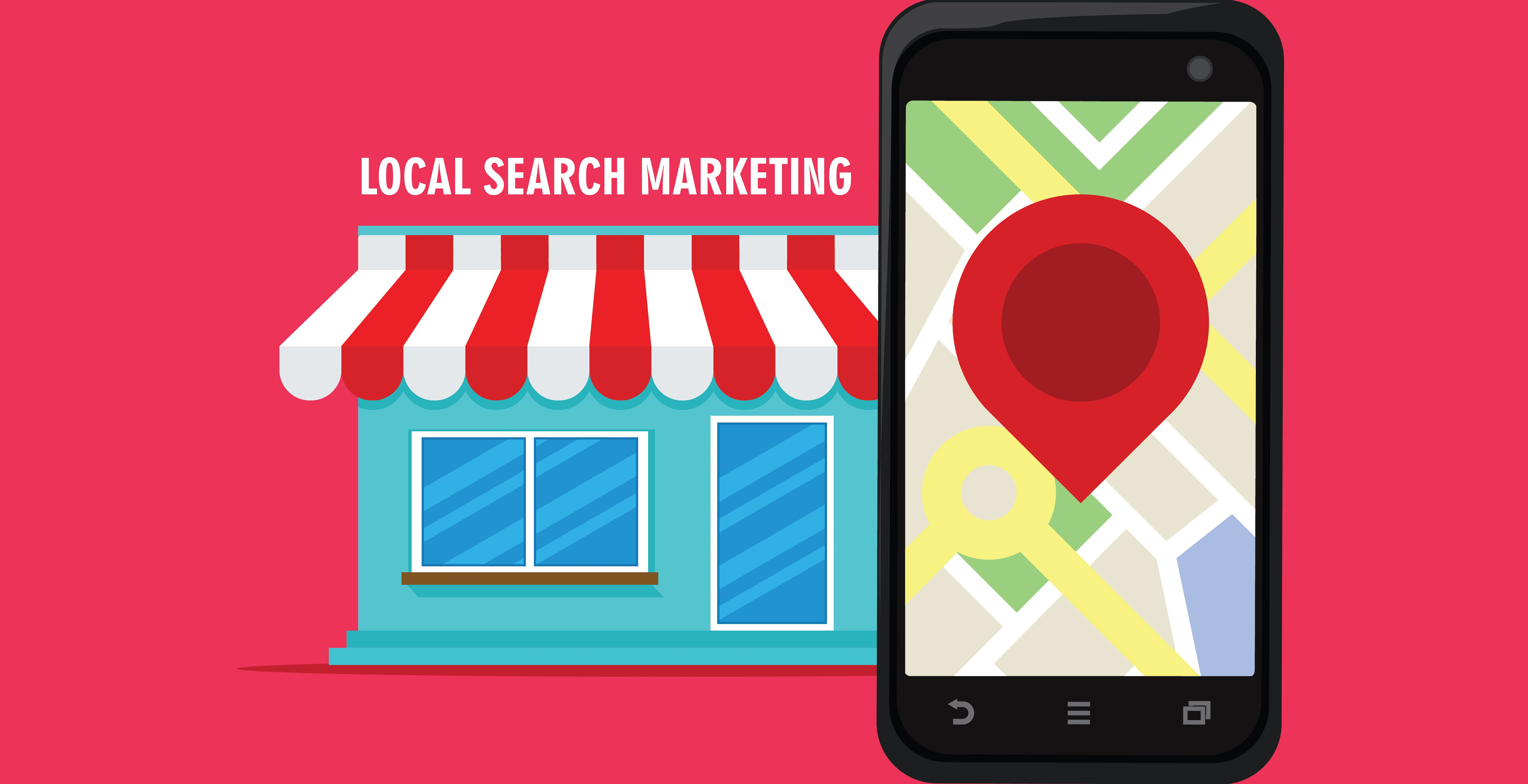 mobile phone showing map to local business. healthcare business optimized for local search marketing.