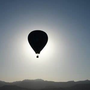 hot air balloon floating in horizon