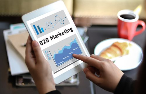 "Tablet showcasing the words ""B2B Marketing"""