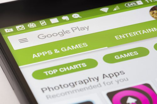 Screen of Google Play Store on mobile phone