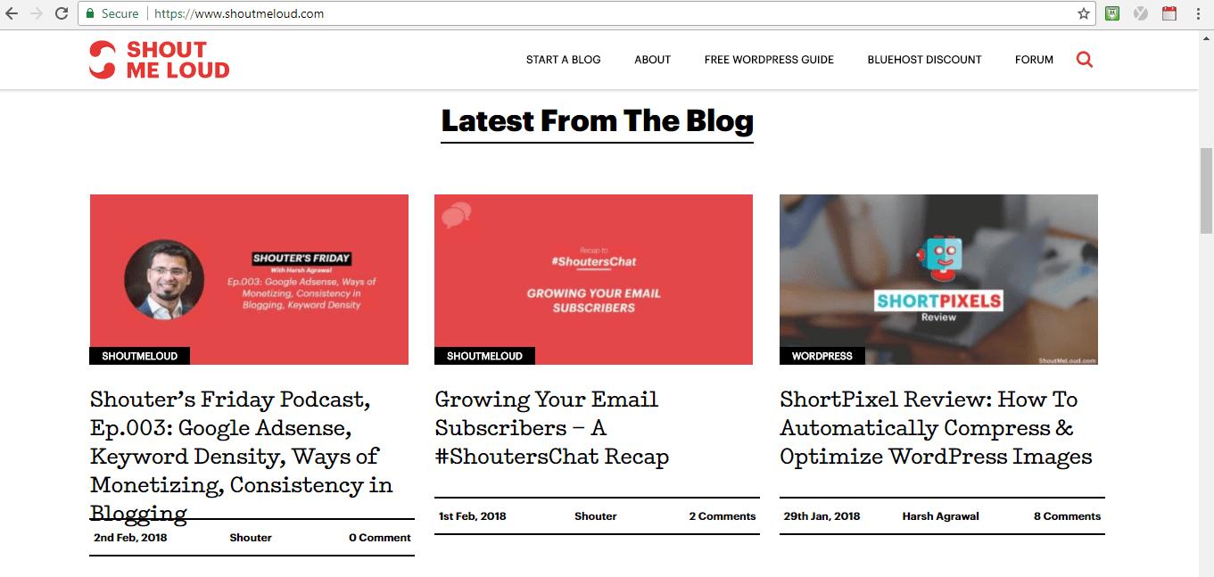 Screenshot of Shout Me Loud Blog