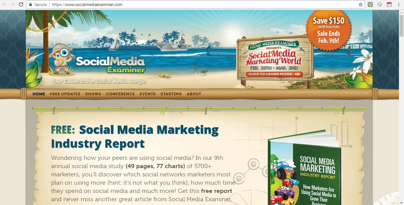 Screenshot of Social Media Examiner blog