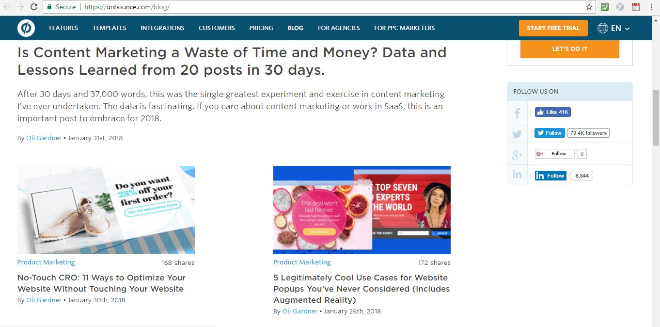 Screenshot of Unbounce blog