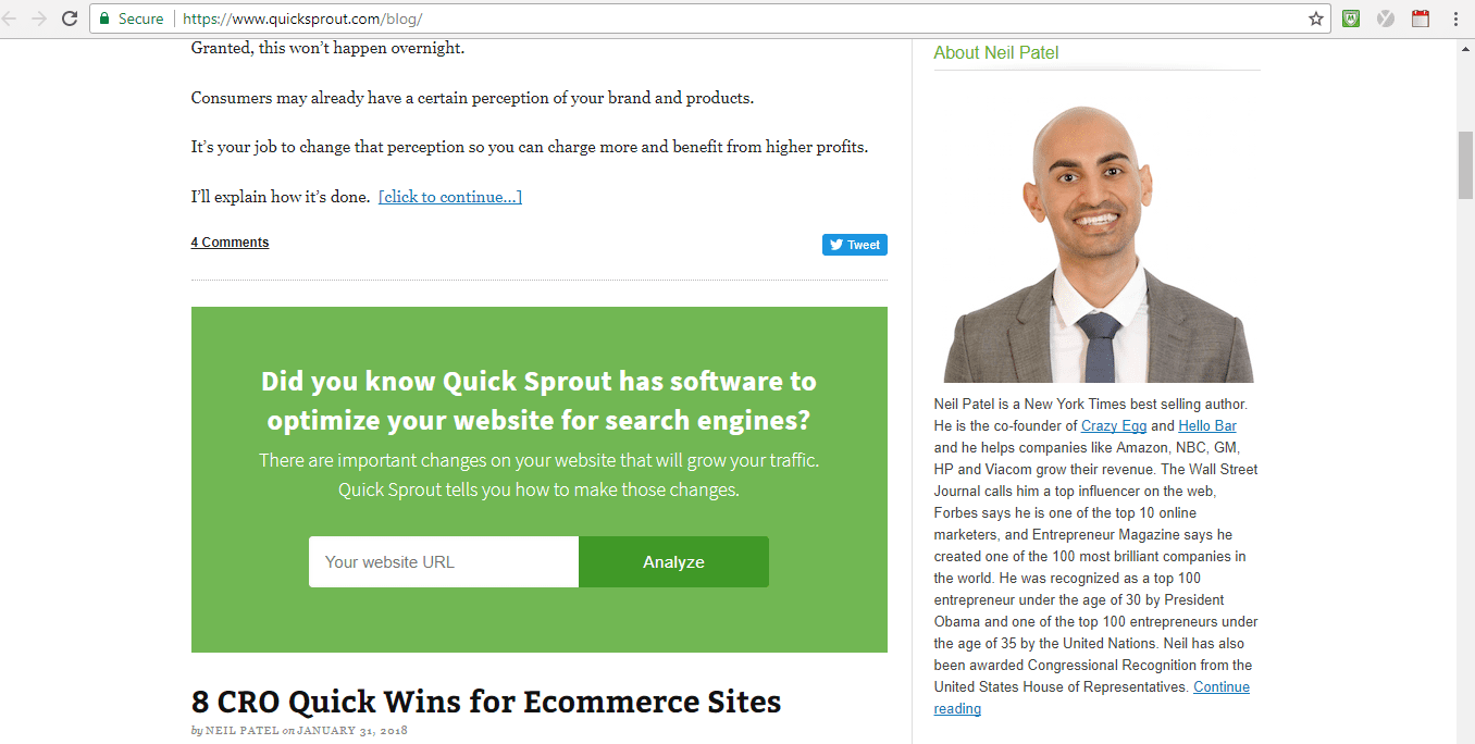 Screenshot of Quick Sprout Social