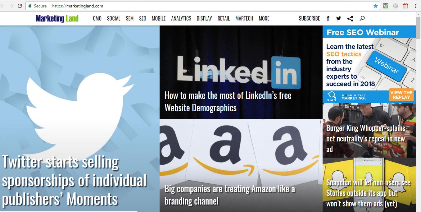 Screenshot of Marketing Land blog