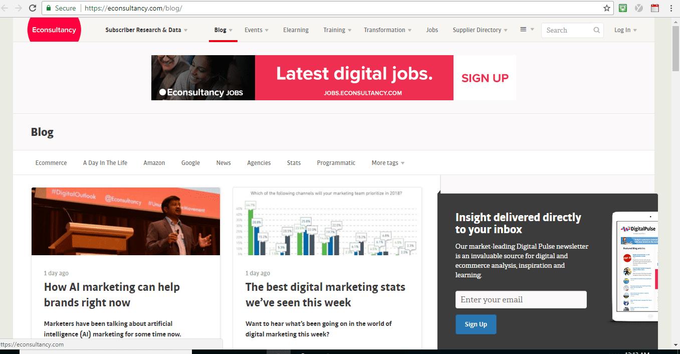 Screenshot of Econsultancy blog