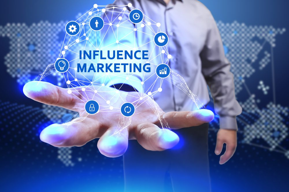 Digitized web of elements connected by influencer marketing