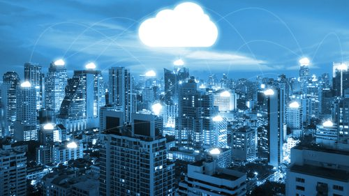 Cityscape showing digital cloud solution and interconnectivity