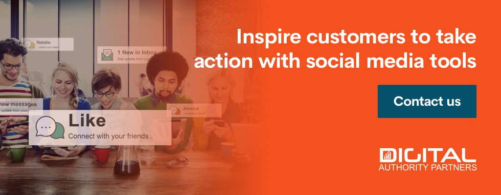 Banner encouraging brands to inspire customers to take action with social media tools