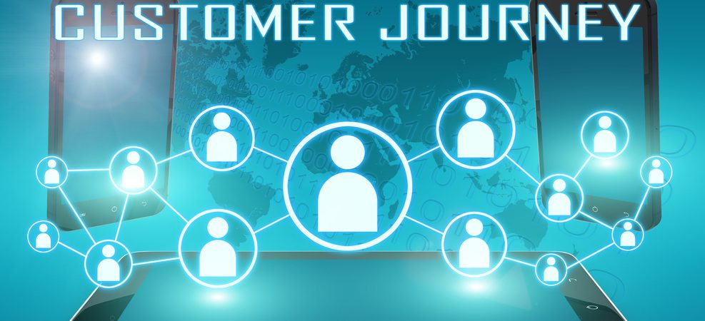 Digitized customer journey depicted on computer screen