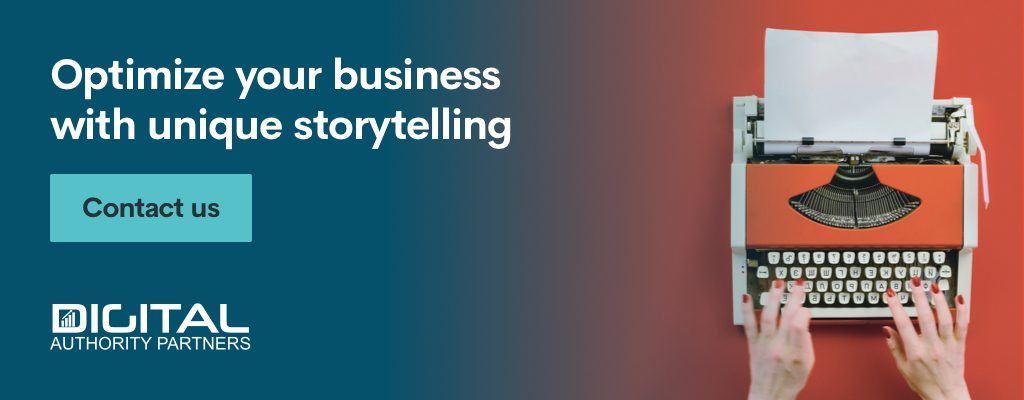 Banner encouraging brands to optimize their business with unique storytelling.