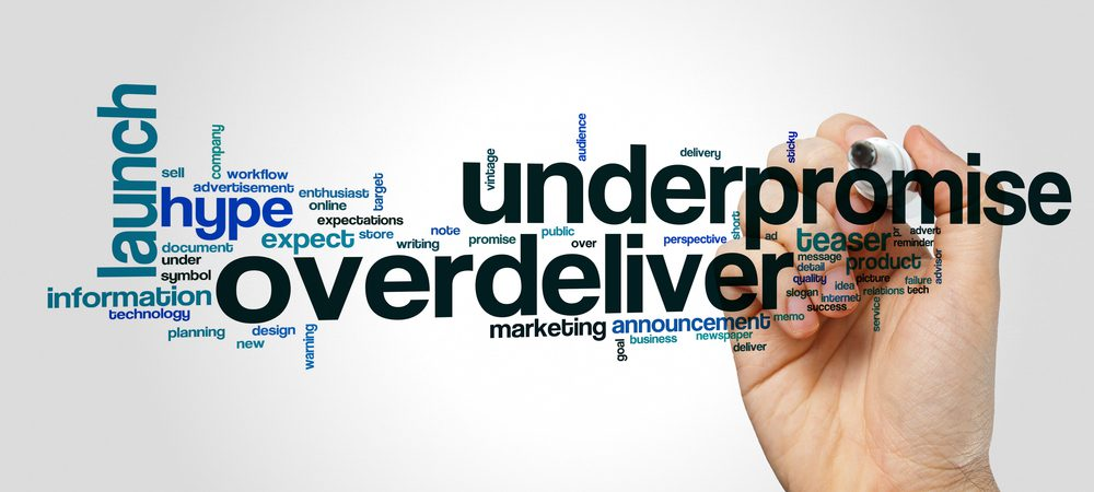 Word cloud showing underpromise and overdeliver