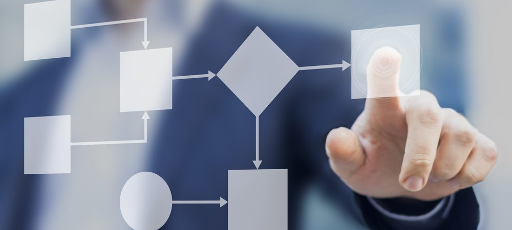 A business man pointing to a digital flow chart