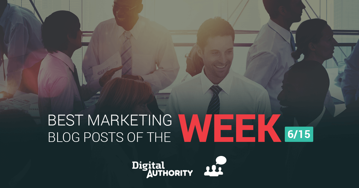 Poster announcing the best marketing blog posts of the week