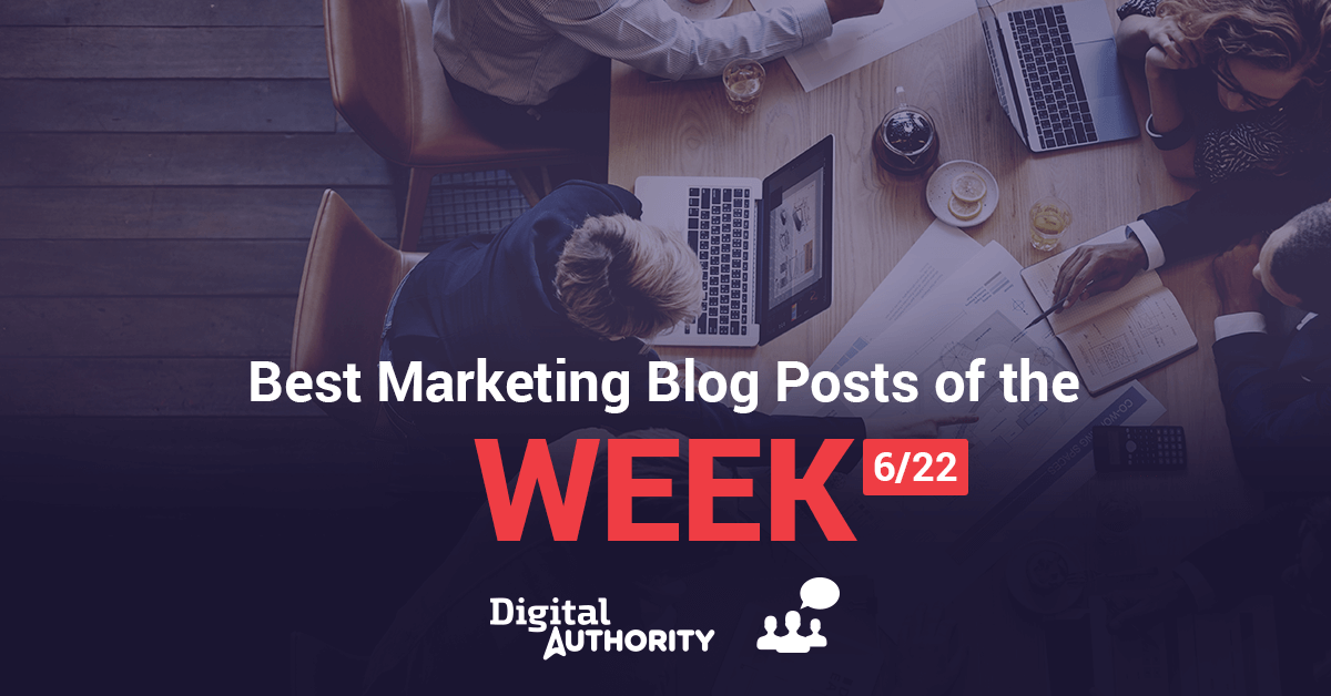 Web poster that reads best marketing blog posts of the week