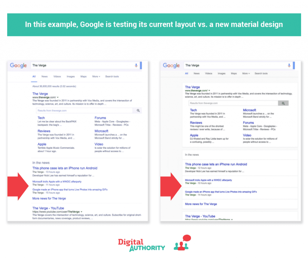 Screenshots of Google's A/B tests of their new layout