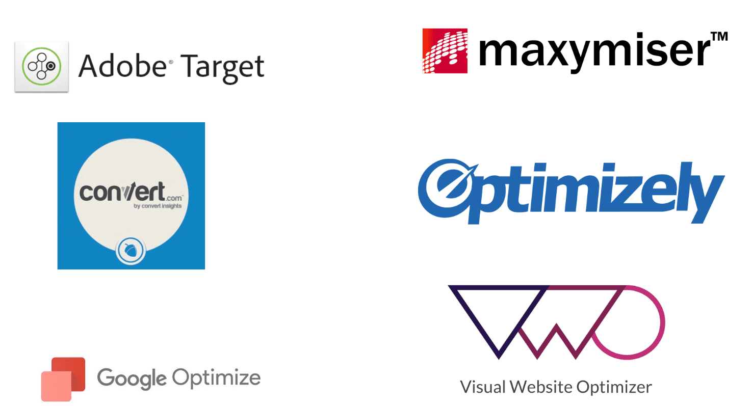 Logo of companies: Adobe Target, Maxymiser, Convert, Optimizely, Google Optimize, VMO