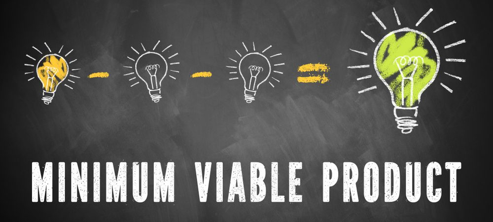 Chalk drawing of three small light bulbs and a forth, big one with the words Minimum Viable Product underneath