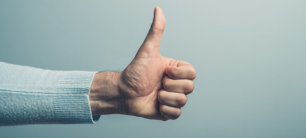Hand giving a thumbs up