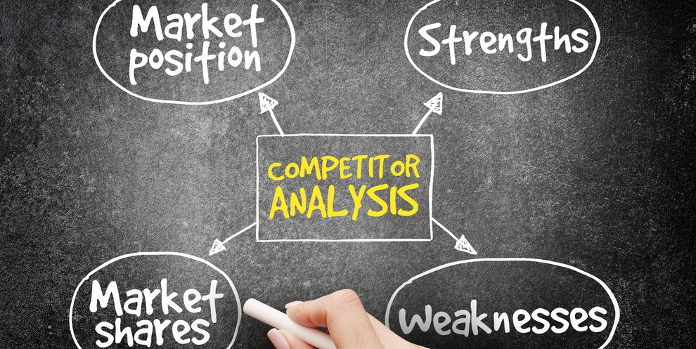 Chalk drawing of the elements of a competitor analysis