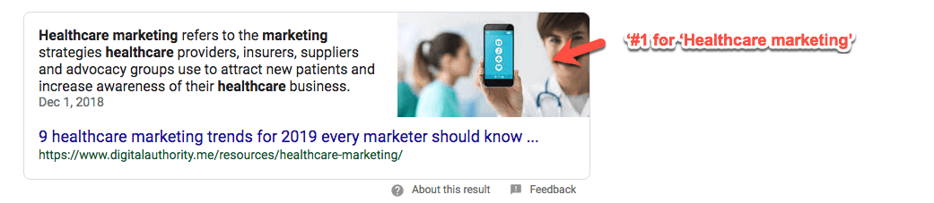 "Screenshot of number 1 Google Search result for ""healthcare marketing"""