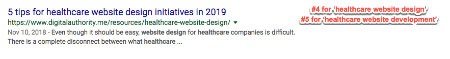 "Screenshot of page 1 Google Search results for ""healthcare website design"" and ""healthcare website development"""