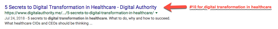 "Screenshot of top 10 Google Search result for ""digital transformation in healthcare"""