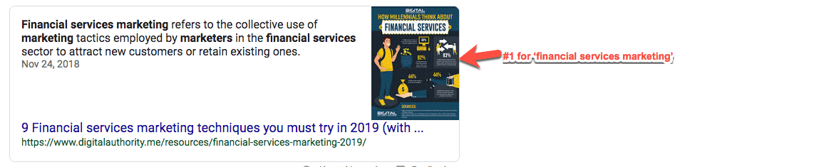 "Screenshot of #1 Google Search result for ""financial services marketing"""