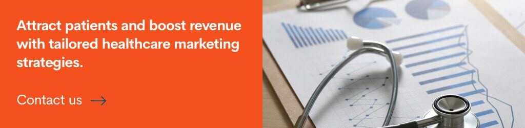 Banner encouraging readers to get a healthcare marketing strategy