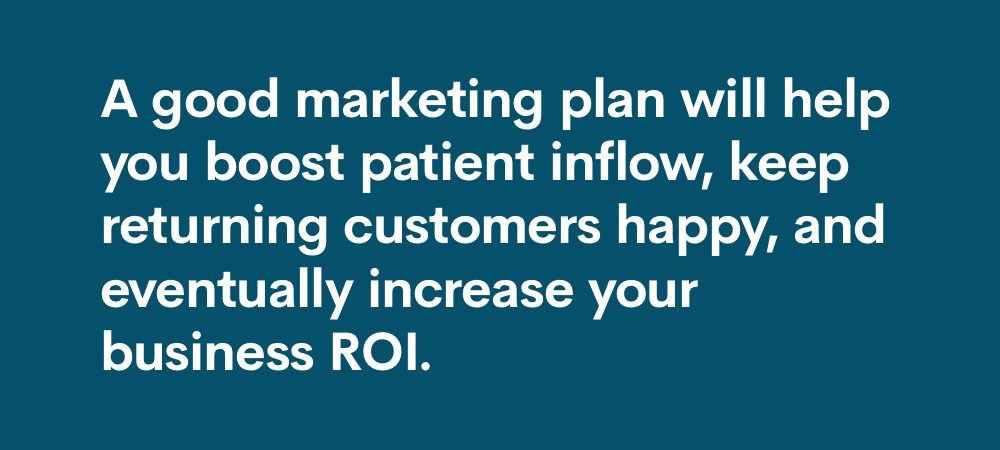 good marketing plan will help boost patient inflow, keep returning customers happy, and increase ROI