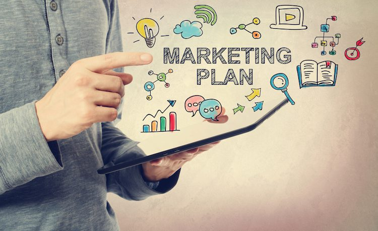 Person holding a marketing plan