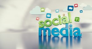 """Social media"" with logos of social media platforms floating in background"