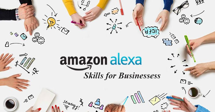 "An image that displays the text ""Amazon Alexa Skills for Business"" while surrounded by hands."