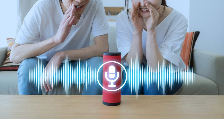 A couple speaking into their voice assistant speaker