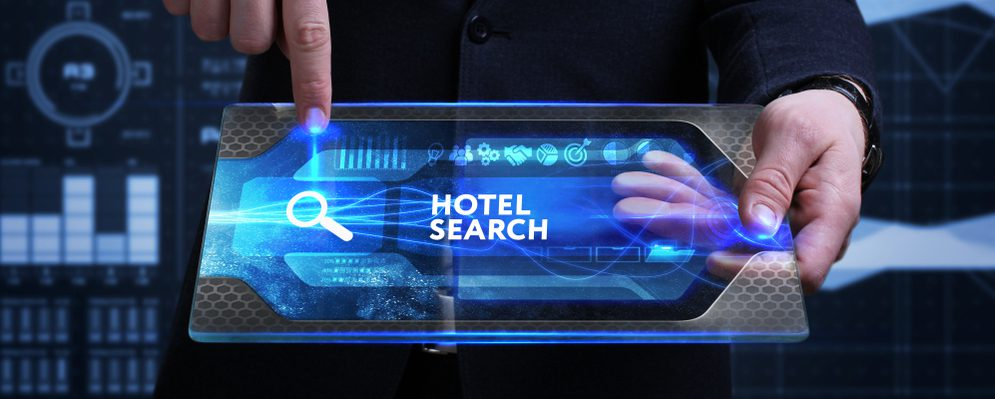 A futuristic tablet displaying a search for SEO hotel digital marketing