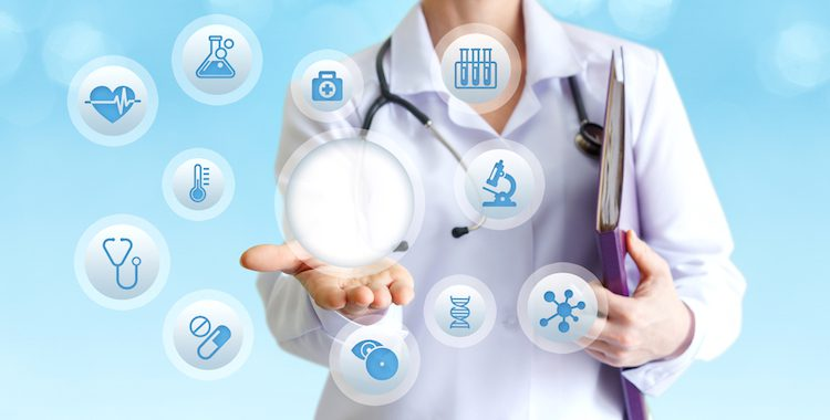 doctor with stethoscope with healthcare icons