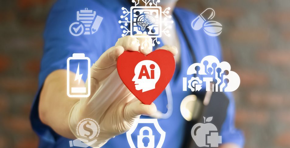 "Physician holding a heart that has ""Ai"" written in it while surrounded by other graphic logos."