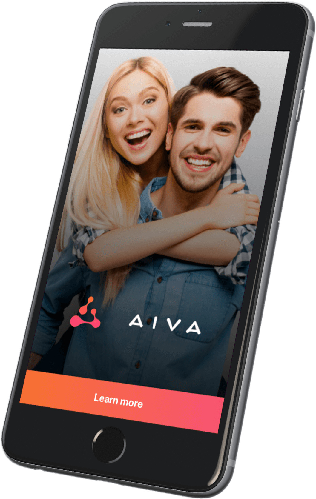 Cover screen of AIVA app on a mobile phone
