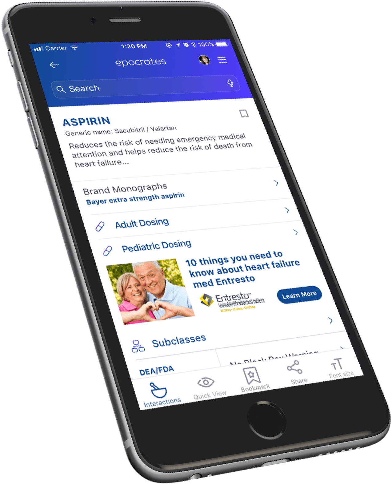 Example of healthcare information on Epocrates app shown on mobile device