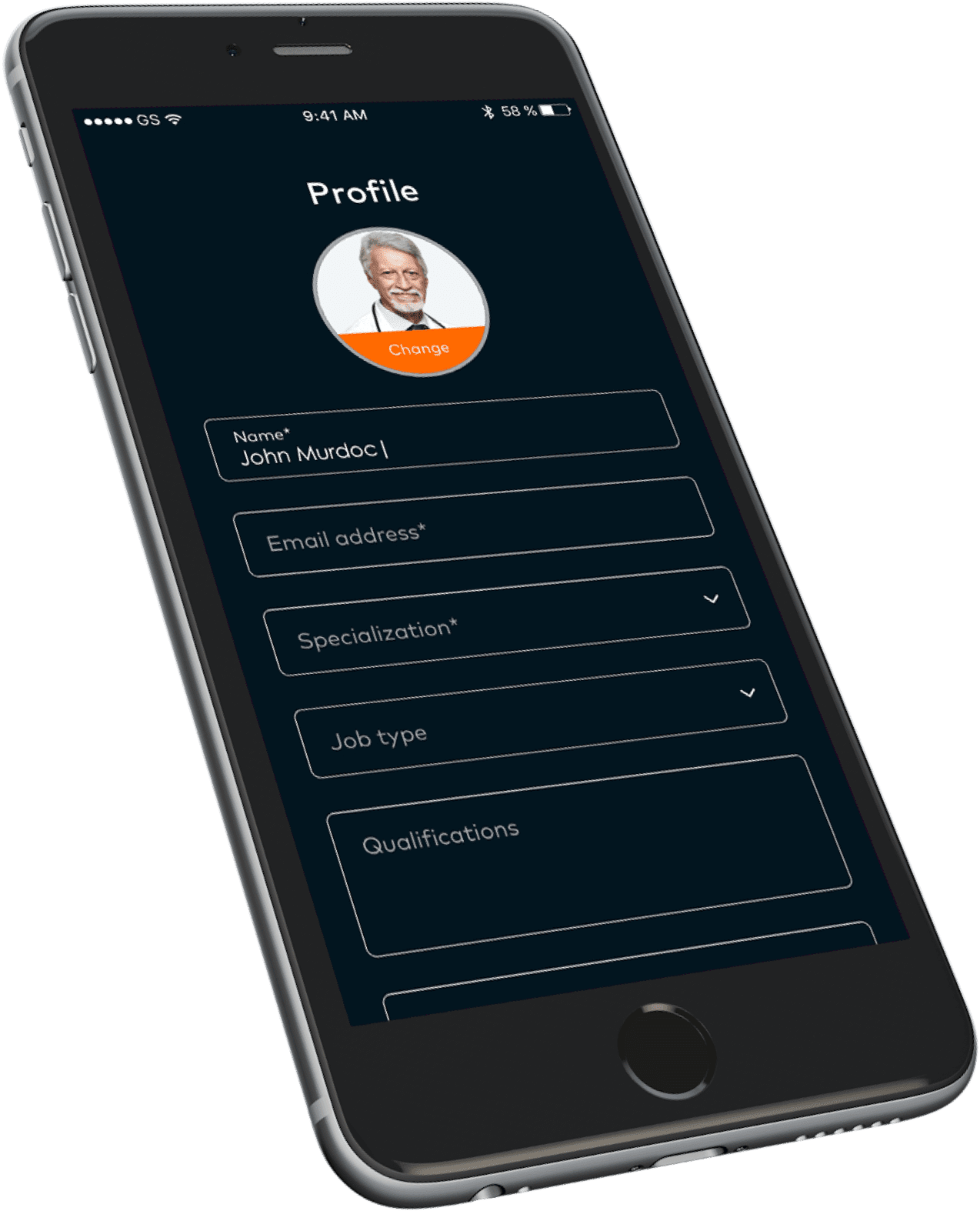 Example of a physician profile on Athena Health app shown on a mobile device