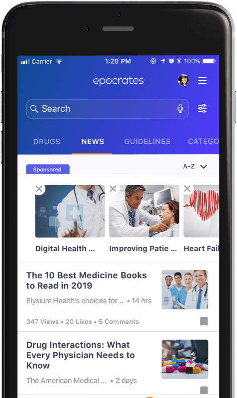 Example of healthcare news on Epocrates app shown on mobile device