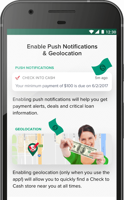 Example of notification within the Check Into Cash app shown on a mobile screen