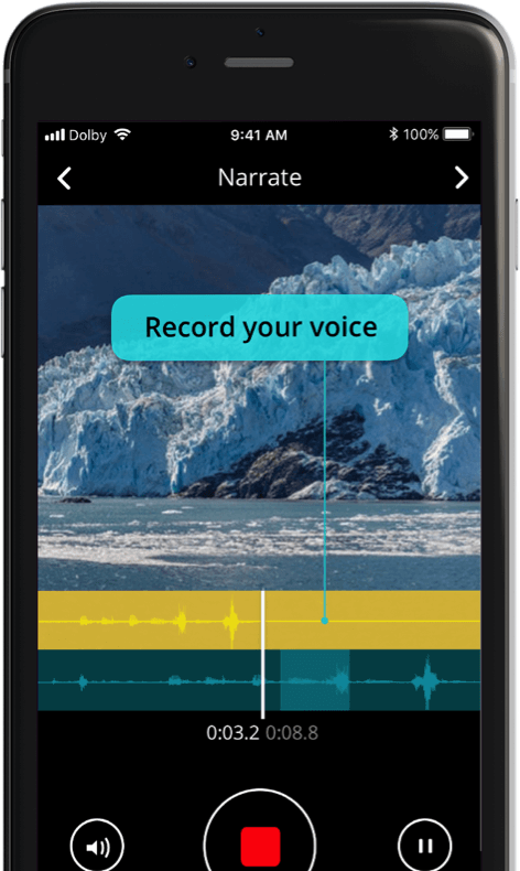 Screenshot of video narration app Dolby shown on a mobile device