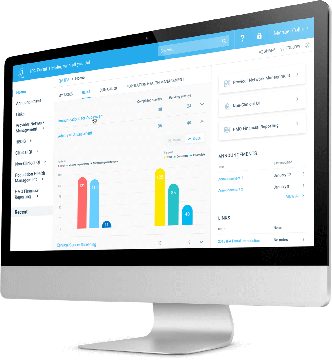 The Blue Cross Blue Shield of Illinois performance dashboard shown on a desktop