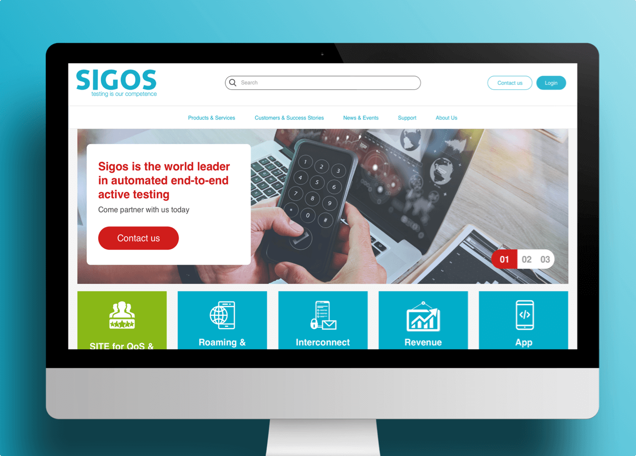 Sigos' website displayed on a desktop