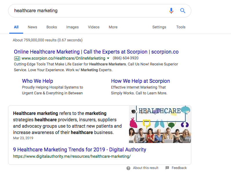 A Google Search of Healthcare Marketing.