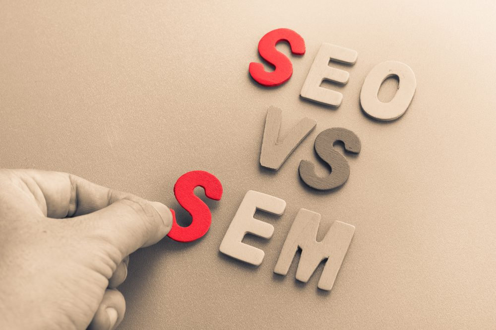 Letters forming the words SEO vs SEM
