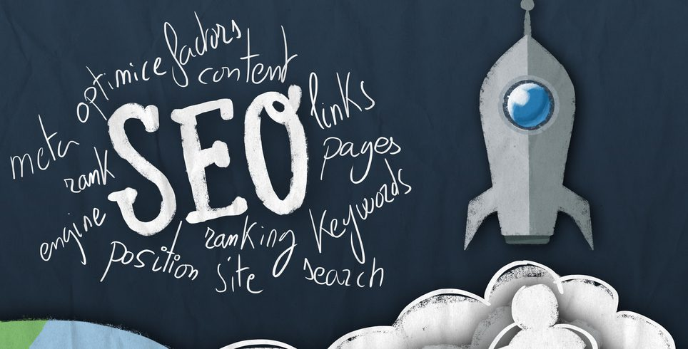 "A rocket ship with the ""SEO"" surrounding by multiple words."